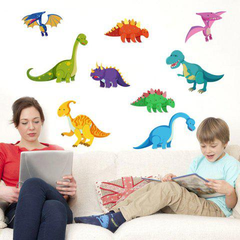 Color Dinosaurs Removable PVC Wall Sticker - multicolor 82X60CM