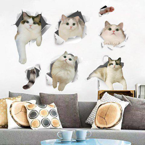 Cute Cats Removable PVC Wall Sticker - multicolor 60X45CM