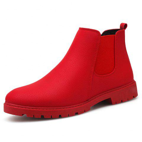 Men Chelsea Boots Fashion Men'S Ankle Boots Slip Ons Motorcycle Boots - RED EU 43