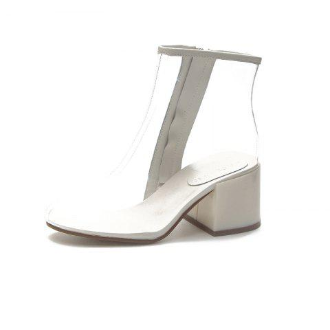 Coarse and Comfortable Crystal Girl Boots - WHITE EU 39