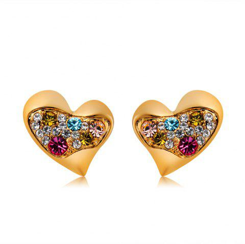 Gold-Plated Heart-Shaped Colored Zircon Stud Earrings - GOLD