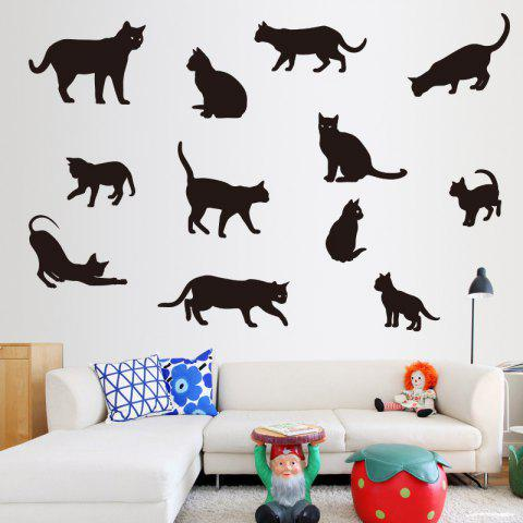 Cute Play Cats Removable PVC Wall Sticker - BLACK 85X60CM