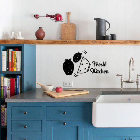 Strawberries Fresh Kitchen Wall Sticker Children Kids DIY Home Party Decorative - BLACK 43X25CM