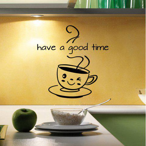 Coffee Have A Good Time Vinyl Decor Kitchen Decal Mural Removable Wall Sticker - BLACK 43X32CM