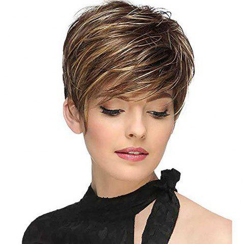 Stylish Intellectuali Lady Short Hair High Temperature Synthetic Wig - BROWN BEAR 12INCH