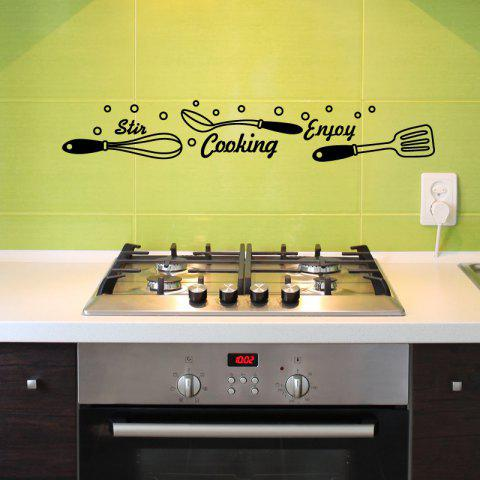 Enjoy Cooking Wall Stickers Kitchen Mural Creative Decorative Vinyl Home Decal - BLACK 43X47CM