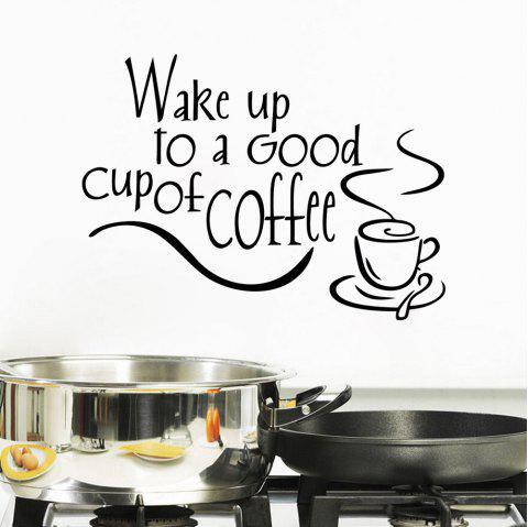 Wake Up To Coffee Wall Sticker Good Morning Wallpaper Living Room Decal Art - BLACK 34.7X25.4CM