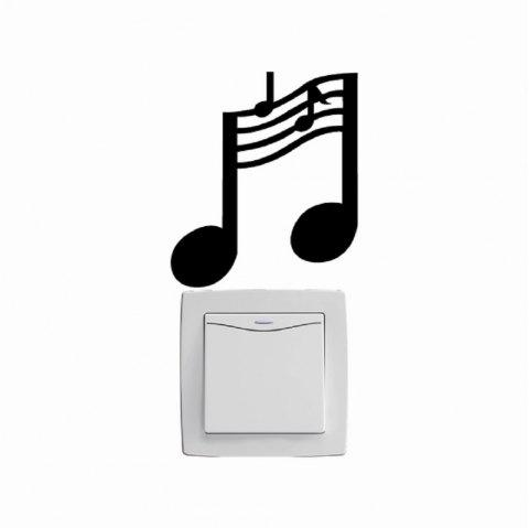 Music Notes Switch Training Room Vinyl Wall Stickers Mural Bedroom Home Decor - BLACK 11.5X10CM
