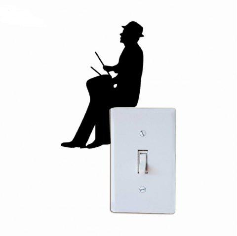 Customized Wall Stickers Removable Music Man Playing Drum Light Switch DIY Decor - BLACK 15.2X9.9CM