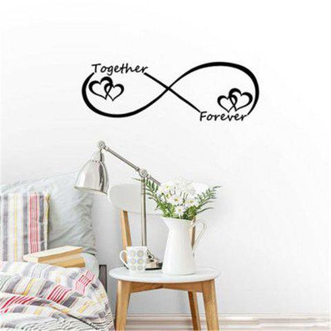 Valentines Love Together Forever Quotes Wall Stickers Home Decoration - BLACK 19X57CM