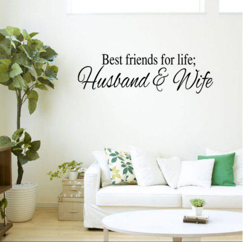 Husband and Wife Are Best Friends English Words Quote Wall Sticker Couple - BLACK 58X17CM