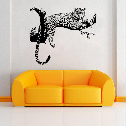 Animals Leopard Lying on The Branch PVC Wall Sticker for Kids Nursery Room Decor - BLACK 60 X 90 CM