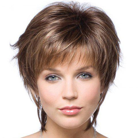 Partial Distribution Type See-Through Bang Small Roll Short Wig - LIGHT BROWN 10INCH