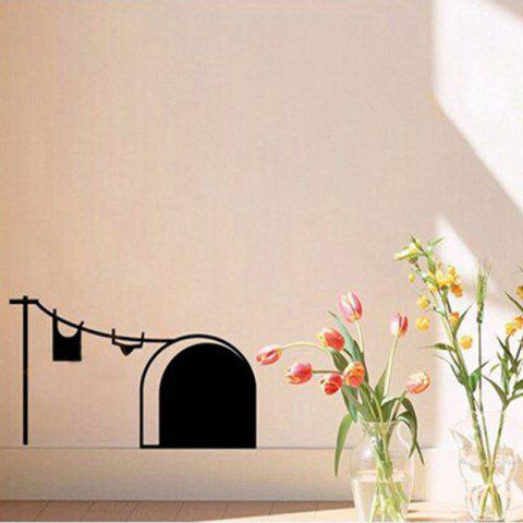 New Cute Cartoon Mouse Home Sticker Wall Decor Mouse Hole Children Vinyl Decal - BLACK 21X12CM