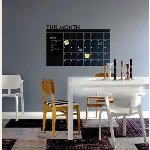 This Month Calendar Vinyl Blackboard Sticker Chalkboard Wall Decals Kids Room - BLACK 60 X 92 CM