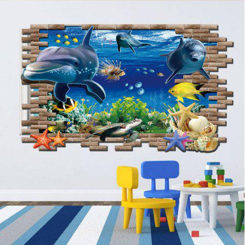 3D Sea World Shark Fishes PVC Full Color Wall Stickers Kids Nursery Room - multicolor 60 X 90 CM