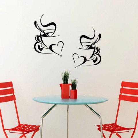 Kitchen Wall Sticker Coffee Cup with Heart Kitchen Vinyl Art Decor Decal - BLACK 30X20CM X2