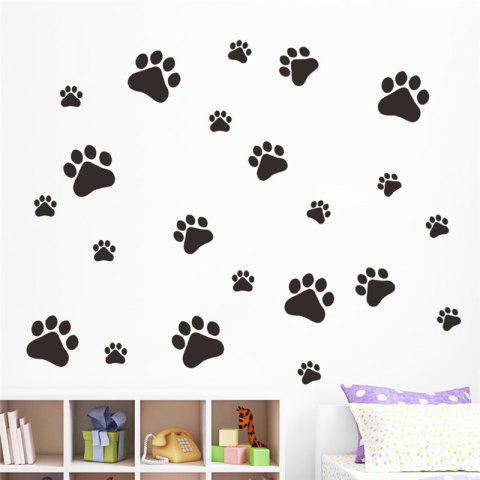 Funny Dog Cat Paw Vinyl Prints Kids Room Home Decal Wall Stickers DIY Decor - BLACK 28 X 38 CM