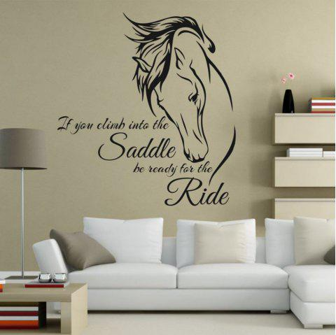 Horse Riding Decal Quote Vinyl Art If You Climb Into The Saddle Be Ready Decor - BLACK 59 X 64CM