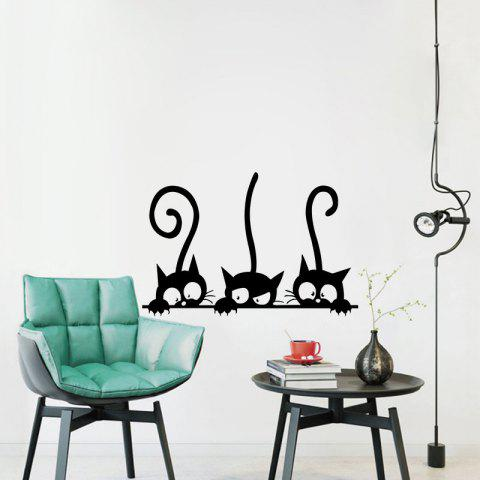 Three Tailed Kittens Vinyl Wall Stickers for Kids Cartoon Cats Decals Decoration - BLACK 20 X 30 CM