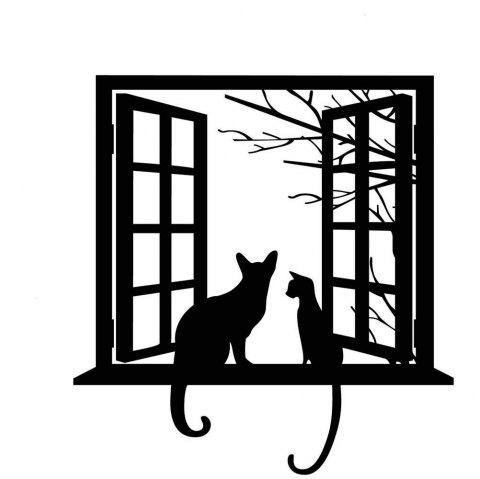 Opening Window with Cats Vinyl Wall Stickers for Kids Room Home Decorative - BLACK 43 X 52 CM