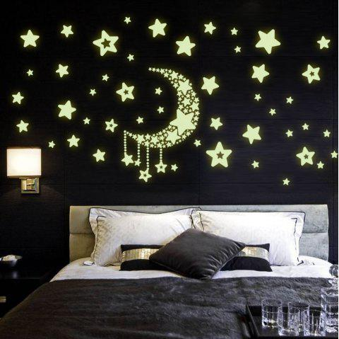 Luminous Stars Moon Wall Stickers Home Glow In The Dark Stars For Kids Baby Room - GREEN 21 X 29.7CM
