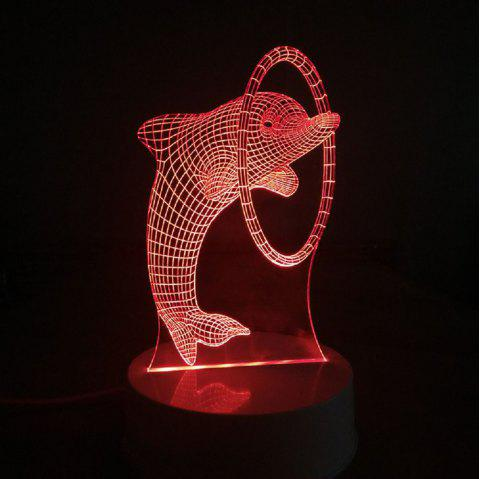 Cartoon Dolphin Through Ring 3D LED Table Light Full Color Led Lamp Kids Room - FANTASTIC 20 X 15 X 9CM
