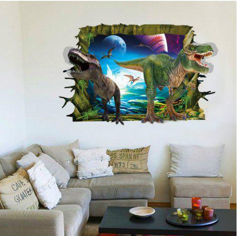 3D Two Dinosaurs Wall Stickers for Kids Animals Birds Pvc Decals Home Decoration - multicolor 60 X 90 CM