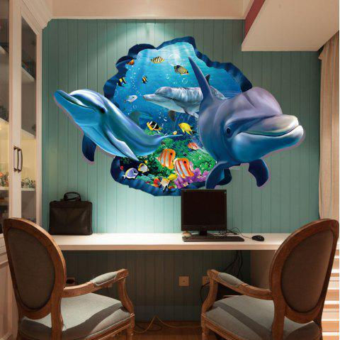 3D Dolphin Underwater Wall Sticker Sea Scenery Decals For Kids Room Decor - multicolor 60 X 90 CM