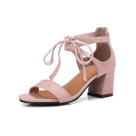 a08ad5fc3558 Spring and Summer Open Toe Solid Color Sexy Cross Straps with Chunky Sandals  - LIGHT PINK
