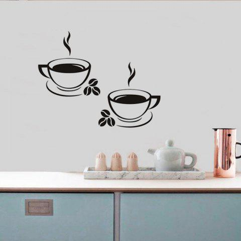 Coffee Cup Removable PVC Wall Sticker - BLACK 42X33CM