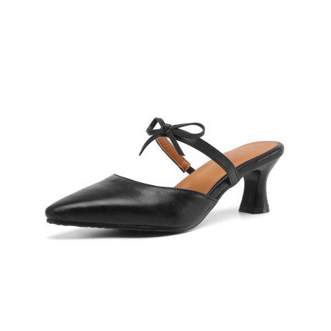 Spring and Summer Bow Thick with Pointed Set of High Heel Slippers - BLACK EU 39