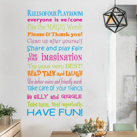 House Rules Quote Removable PVC Wall Sticker - multicolor 72X39CM
