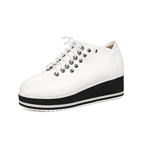 Spring and Autumn Round Head Rivet Cross Strap Thick Platform Wedge Single Shoes - WHITE EU 37