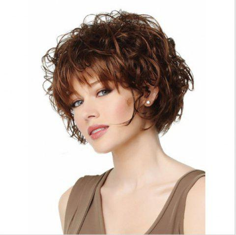 Fashion Rose Net Short Curly Wig with Bang - DEEP COFFEE 1PC