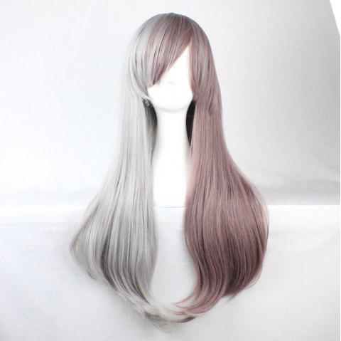 A Long straight Wig with A Stylish Two-Tone Gradient - PLATINUM 1PC