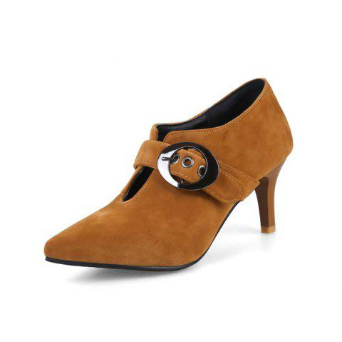 Spring and Summer Pointed High Heel Belt Buckle Set Foot Fashion Shoes - YELLOW EU 43