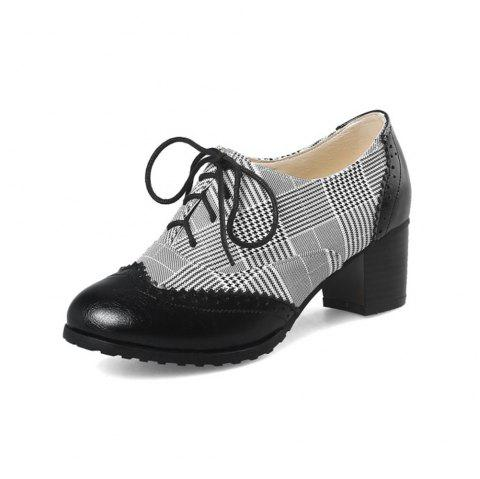 Spring and Autumn Round Head Tie Color Matching Thick with Plaid High Heel Shoes - BLACK EU 39