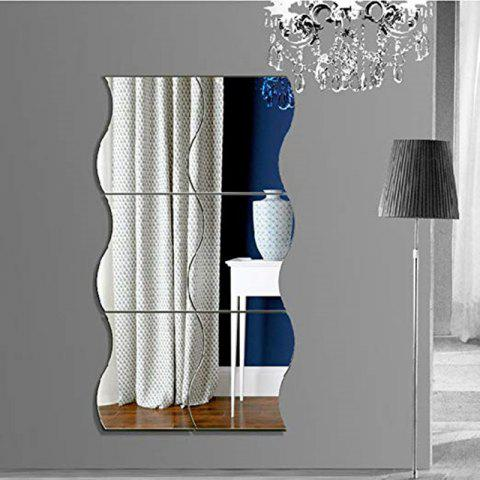 6 Pcs Squares Reflective Mirror Creative Decor Art DIY 3D Acrylic Crystal Mirror - SILVER