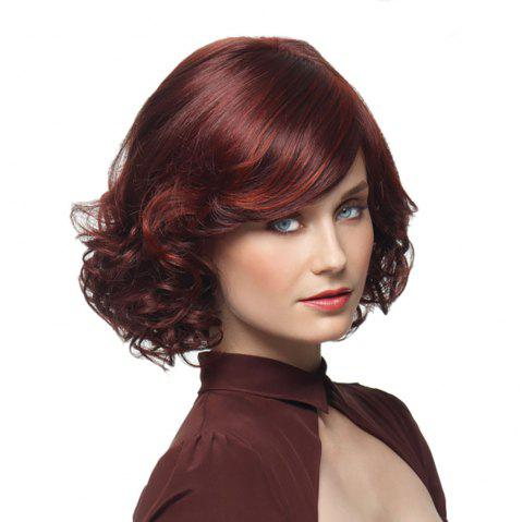 Fashion Wine Red Partial Pear Short Curly Wig - RED WINE 1PC
