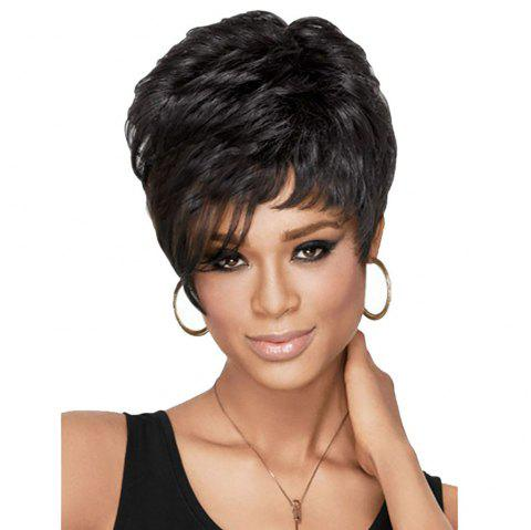Stylish Black Bouffant Short Curly Wig - BLACK 1PC