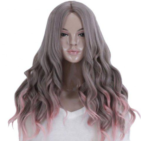 In The New Fashion A Long Cornhusk Wig Is Split - SMOKEY GRAY 1PC