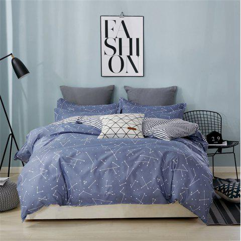 OMONNES Four Simple Bed Sheets on The Bed - LIGHT SLATE GRAY DOUBLE