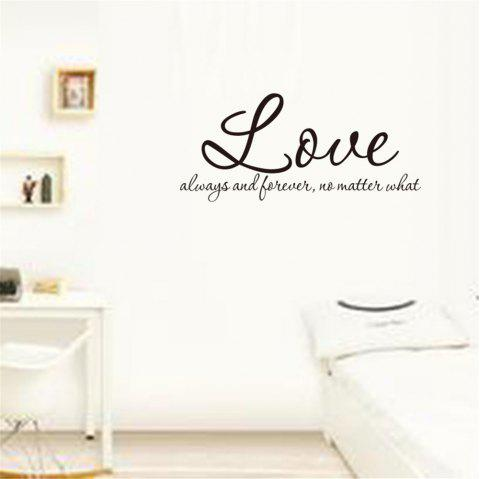 Love Always and Forever No Matter Art Apothegm Home Decal Wall Sticker Removable - BLACK 26*57CM