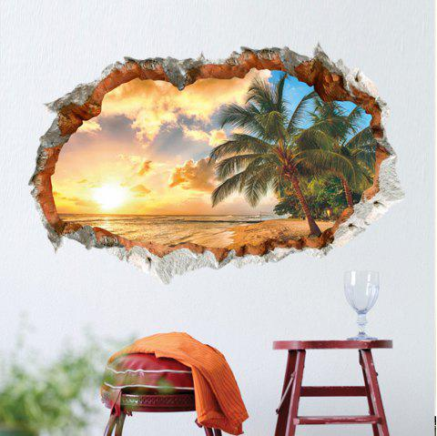 Sunny Beach 3D Broken Wall Bedroom Living Room Background Wall Sticker - multicolor