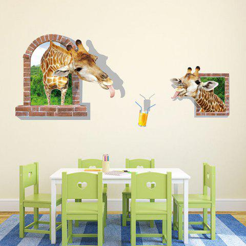 3D Stereo Funny Giraffe Stickers Bedroom Decoration Landscaping Creative Sticker - multicolor 24 X 36 INCH
