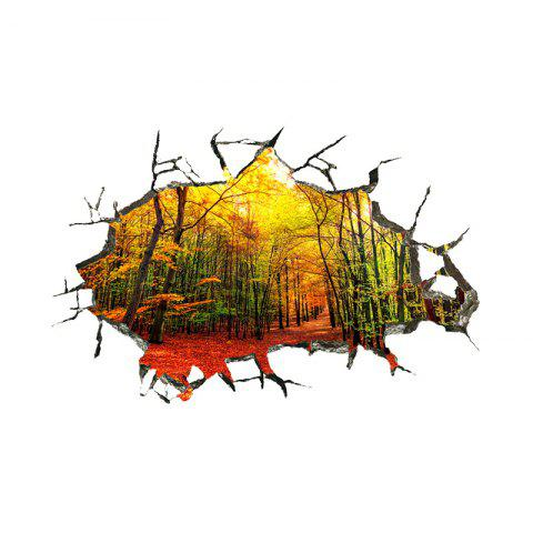3D Broken Wall Stereo Wall Stickers Four Seasons Woods Natural Scenery Home Back - multicolor D 16 X 24 INCH