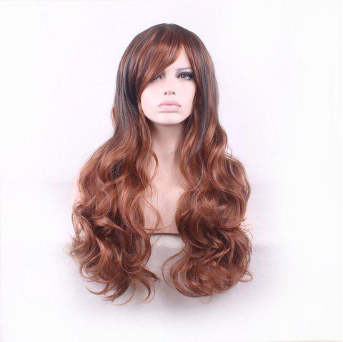 A Long Curly Wig with A Stylish Blend of Colors and Gradient - LIGHT BROWN 1PC
