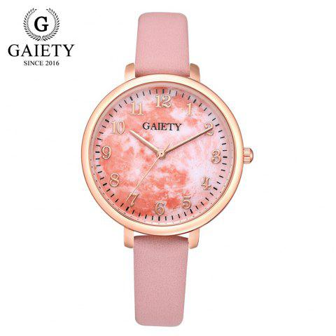GAIETY G576 Women'S Watch Ultra-Thin Large Dial PU with Quartz Watch - multicolor D