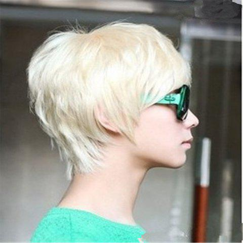 Off-White Boy Wig Cosplay Ball Party Role-Playing Wig - WARM WHITE 1 SET